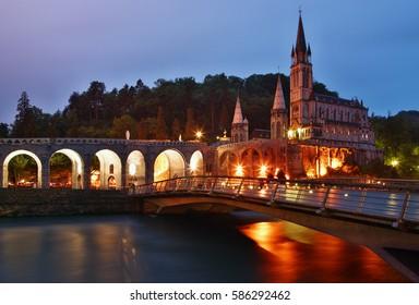 Rosary Basilica at night, Lourdes, Hautes-Pyrenees, France