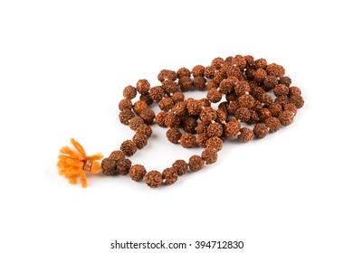 Rosary beads isolated on white. Rudraksha. Mala. Mantra. 108 beads.