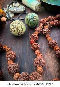 Rosary from the dried fruit of the tree rudraksha and articles for meditation