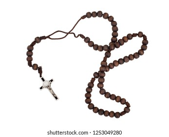 Rosary isolated on white. Christian cross, crucifix, wooden beads