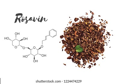 Rosavin (rosavidin) chemical structure and Rhodiola rosea (Golden root) isolated on white background.