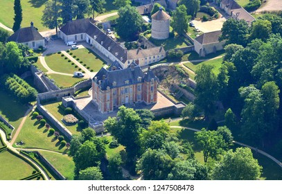 Rosay, France - july 7 2017 : aerial photography of the picturesque castle