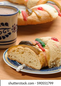 Rosca de reyes with Hot Chocolate cup, Epiphany cake, Kings cake