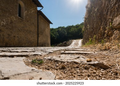 Rosciolo dei Marsi , Italy-August 7, 2021:The Romanesque church, of Benedictine origin, is located in a lonely place on the slopes of Mount Velino.