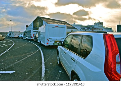 Roscoff, Brittany / France - 6/11/2017: Caravans queuing to board early morning cross-channel ferry from Roscoff to Plymouth aboard Brittany Ferries' 'Pont Aven'