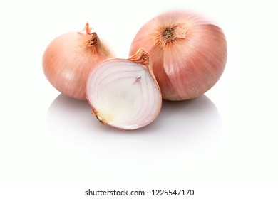 Roscoff onions slice white isolated