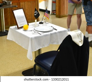 Roscommon, Michigan, USA, August 16, 2018: VFW post 4159 Legion. Veterans organization in Roscommon. Table in memory of soldier.