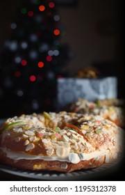 """Roscon de Reyes"" (Kings cake), Spanish tradicional cake to celebrate the ""Dia de los Reyes Magos"""