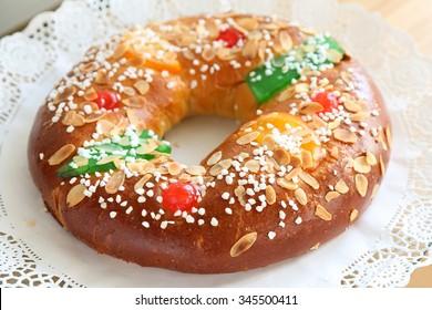 """Roscon de reyes"" , Spanish typical dessert of Epiphany"
