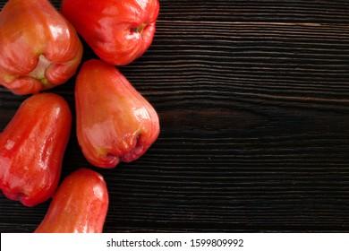 rose apple thai fruit on wooden background