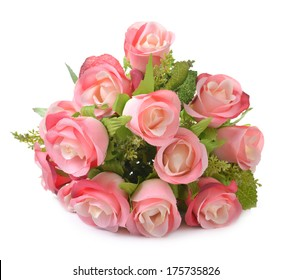 Rose, artificial flowers bouquet isolated on white