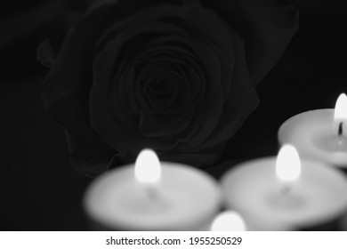 Rose in black,candles,  white, obituary notice, sad occasion
