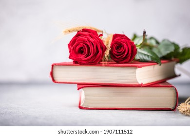 Rose and Book, traditional gift for Sant Jordi, the Saint Georges Day. It is Catalunya's version of Valentine's day