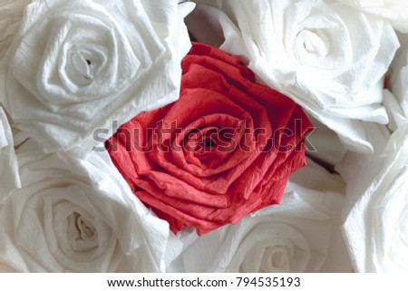 Rose Bouquet Made By Tissue Paper Stock Photo Edit Now 794535193