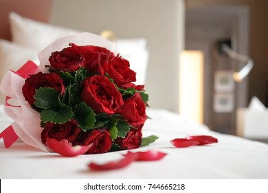 Rose bouquet. Soft focus of a Rose bouquet on a bed, romantic, honeymoon and Valentine's concept.
