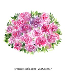 Rose bouquet. Watercolor flowers. Greeting card.