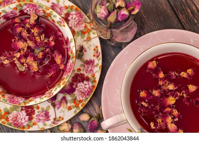 Rose bud tea with dried small roses and rose petals