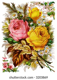 Rose bunch - circa 1890 die-cut Mother's Day greeting card illustration
