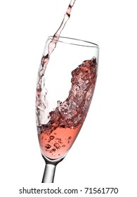 Rose champagne flow in a glass