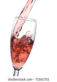 Rose champagne pouring into a glass