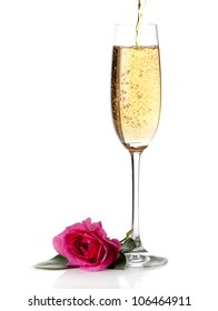 rose and champagne wine isolated on white
