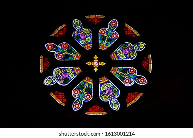 Rose church window with Stained glass