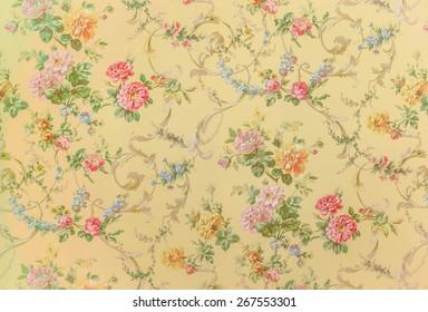vintage floral wallpaper images stock
