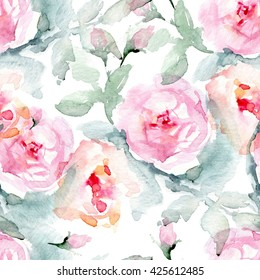Rose fabric background. Vintage floral seamless pattern with English roses, leaves.