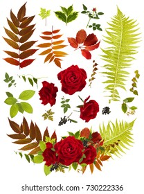 rose flower bouquet clip art with single leaves template
