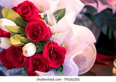 Rose Flower Bouquet on the table, Valentine's Day Gift