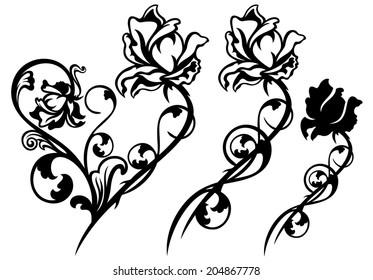rose flower and stem floral decorative elements - black and white design set