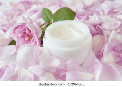 Rose flowers and rose petals with cosmetic cream isolated on white background