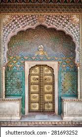 Rose gate door in City Palace of Jaipur, Rajasthan, India