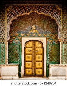 Rose gate door in pink city at City Palace of Jaipur, India