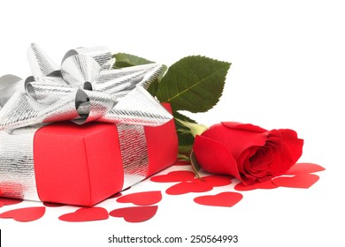 Rose, gift and hearts isolated on white background, Valentines day