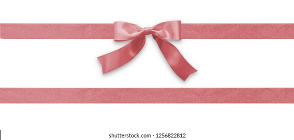 Rose gold bow satin pink ribbon band fabric (isolated on white background with clipping path) for Valentines day holiday gift box, greeting card banner, present wrap design decoration ornament