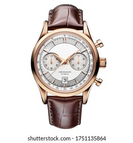 Rose Gold Chronograph Watch Isolated on White. Men's Accessories 25 Jewels. Front View Classic Golden 40mm Automatic Wristwatch with Brown Leather Strap, White Dial, Day & Date Circa