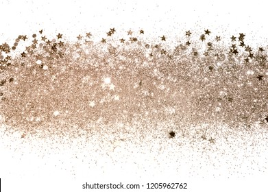 Rose gold glitter and glittering stars on white background in vintage colors