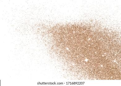 Rose gold glitter on white background