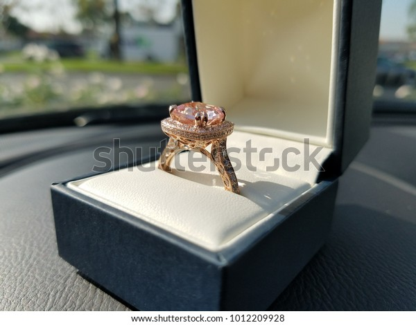 Rose Gold Morganite Ring Box Sitting Stock Photo (Edit Now