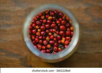 rose hips in jar