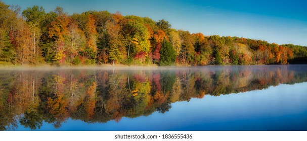 Rose Lake on foggy morning. Mist over water with colorful trees in hocking hills ohio on clear fall morning. Autumn tones of red, yellow, and orange in trees on waters edge. Reflection visible.