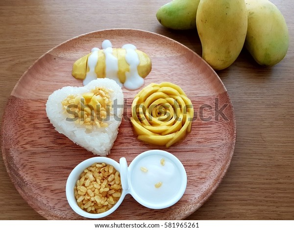 Rose Mango Heart Sticky Rice