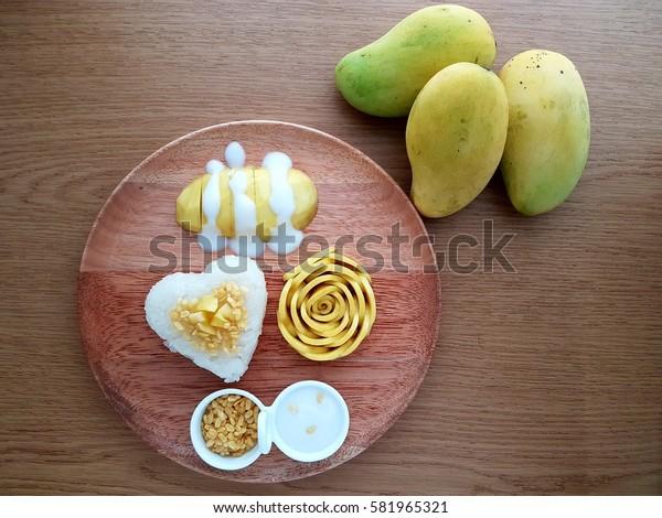 Rose Mango Heart Sticky Rice