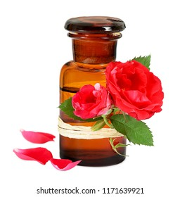 Rose oil in old pharmacists bottle