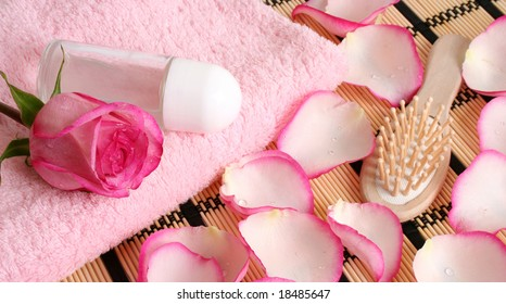 Rose on a white towel