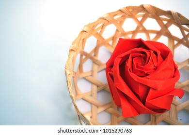 Rose, origami red rose with basket wicker for valentine's day, Love concept.