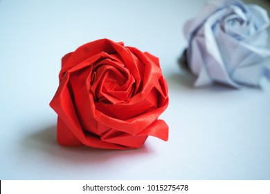 Rose, Origami red rose and white rose for valentine's day. Love concept