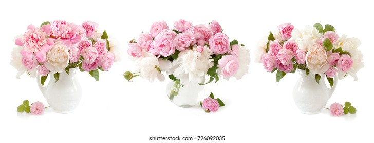 Rose and peony bunch isolated on white background