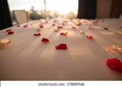 With rose petals on the bed